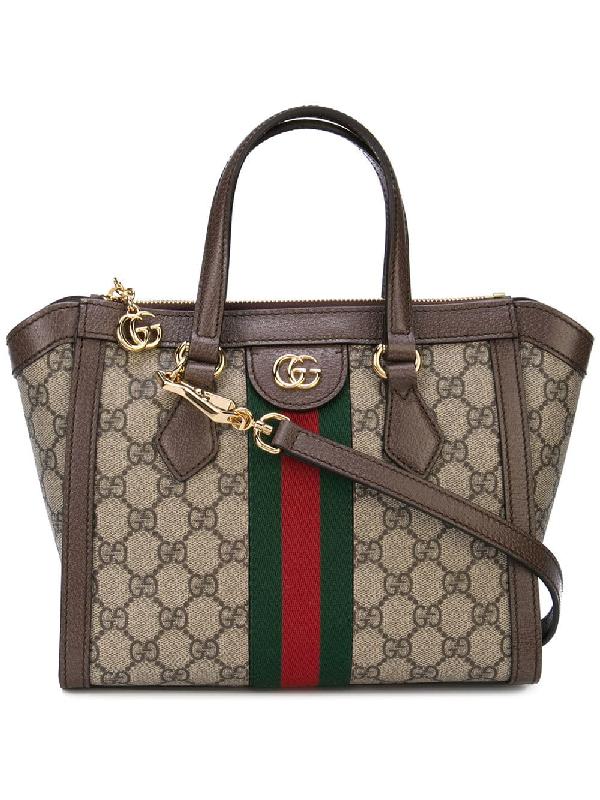 e3c1a725db7ac5 Gucci Ophidia Small Gg Supreme Canvas Tote Bag In Brown | ModeSens