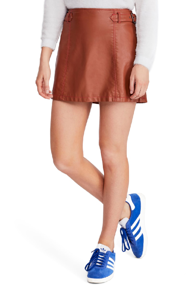 6c0b9b51c Free People Charli Faux Leather A-Line Skirt In Honey   ModeSens