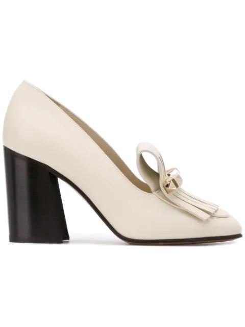 Valentino Kiltie Leather Loafer Pumps In White