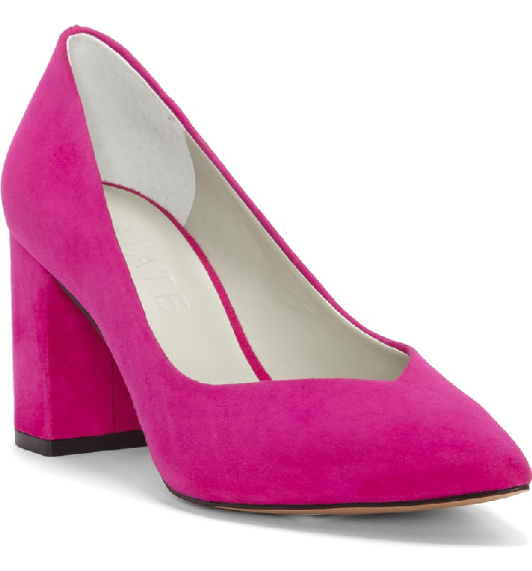 56859e96a507 A lightly pointed topline echoes the toe shape of a velvety suede pump  lofted on a blocky half-moon heel. Style Name 1.state Saffy Block Heel Pump  (Women).