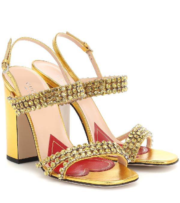 Gucci Crystal-Embellished Leather Slingback Sandals - Gold