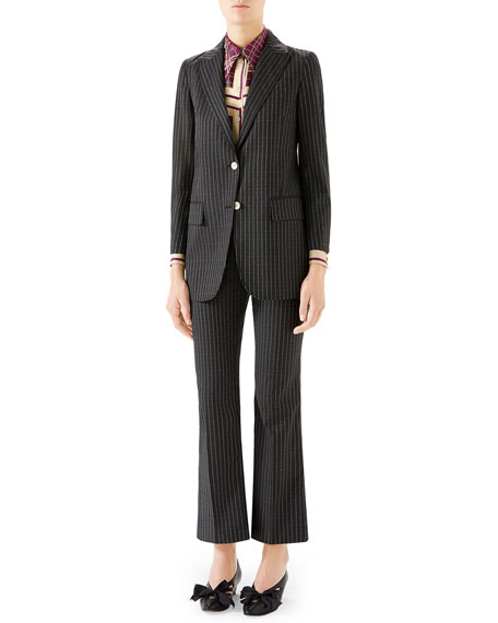 Gucci Pinstriped Wool Blazer Jacket In 1193 Dark Grey/ Azure/ Mc