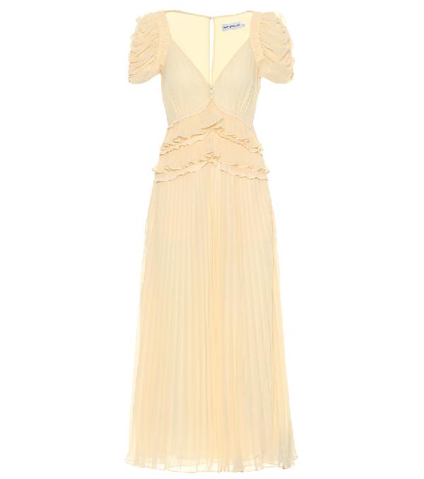 7b57ca3e0d5a Self-Portrait Pleated Chiffon Midi Dress In Yellow | ModeSens
