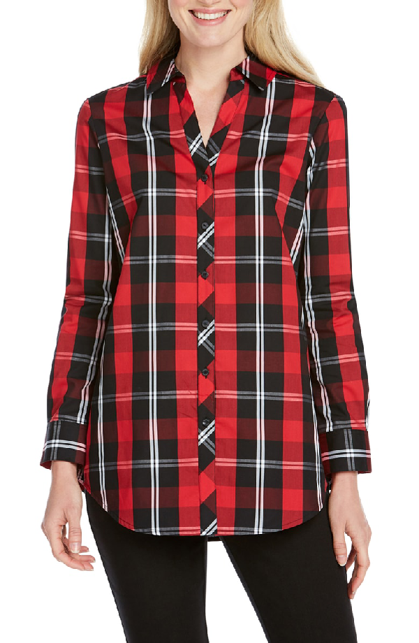 1624e92ef13 Foxcroft Faith Mackenzie Tartan Shirt In Black/ Red | ModeSens