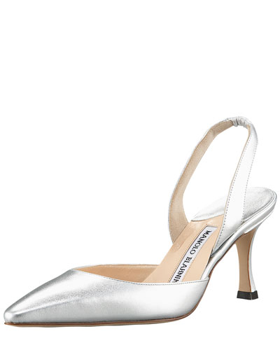 Manolo Blahnik Carolyne Metallic Leather Mid-Heel Slingback Pump In Silver