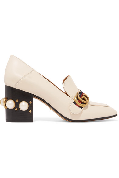 71d41cb26 Gucci Logo And Faux Pearl-Embellished Leather Collapsible-Heel Pumps In  White