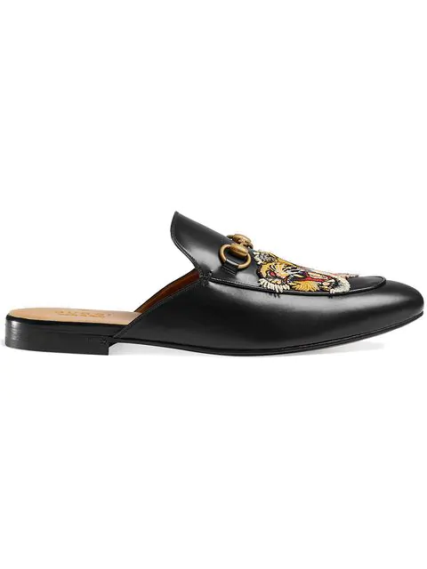 1f6b14520 Gucci Princetown Tiger-AppliquÉ Leather Backless Loafers In Black ...