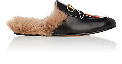 Gucci Princetown Shearling-Lined Embellished Leather Backless Loafers In Black