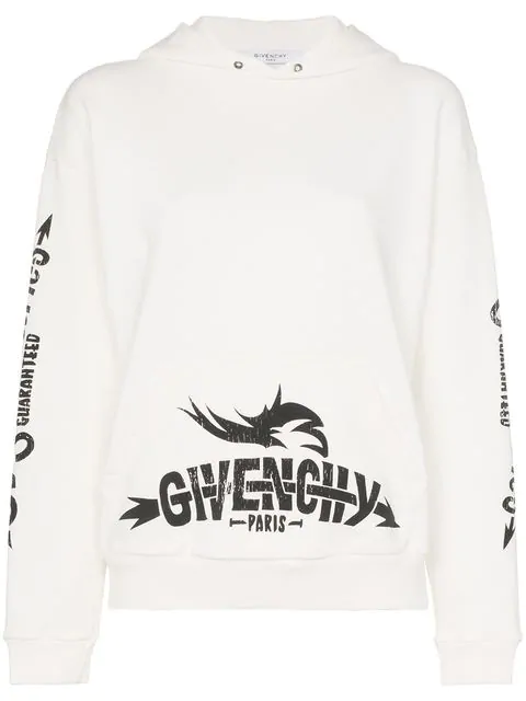Givenchy Tour-Print Cotton French Terry Hoodie In Neutrals
