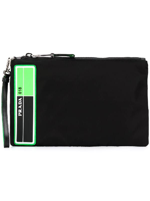 e2432bb7000a Prada Fouou Green And Black Nylon Zip Pouch | ModeSens