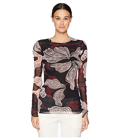 Fuzzi Crystal-Embroidered Long-Sleeve Tulle Top In Vino