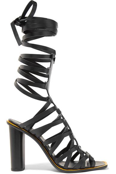 d5d0ad3a6ef7e Altuzarra Ankle-Tie Leather Caged Sandals - Black | ModeSens