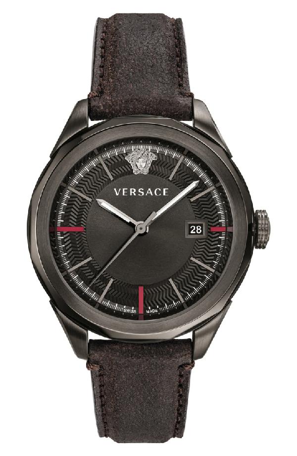 Versace Glaze Leather Strap Watch, 43Mm In Black/ Gunmetal
