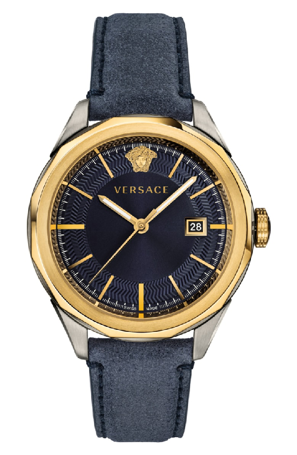 Versace Glaze Leather Strap Watch, 43Mm In Blue/ Gold/ Silver
