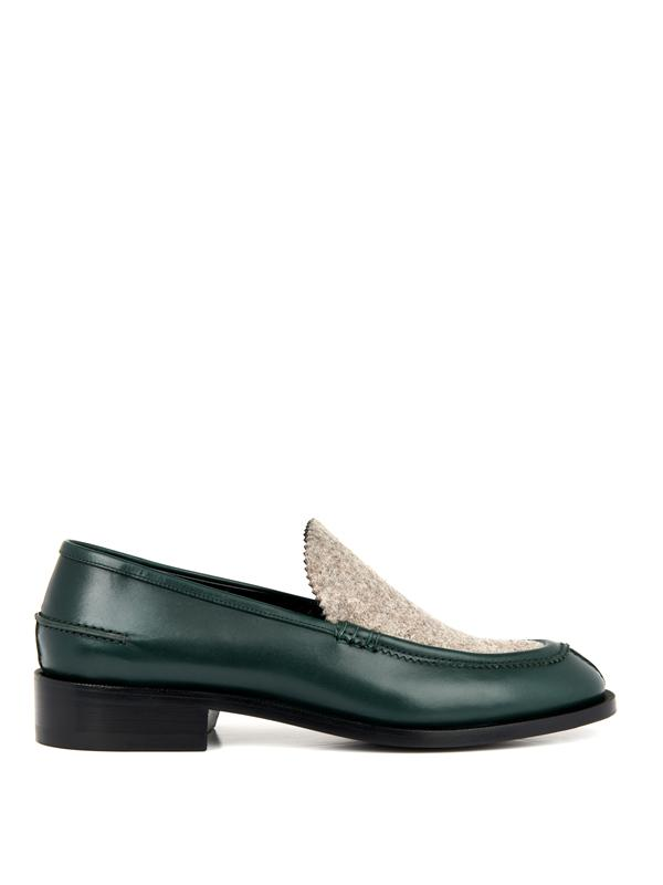 Balenciaga Leather And Felt Loafers In Emerald-Green