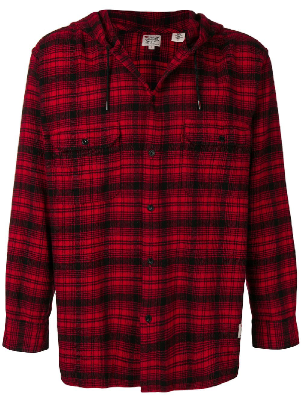 99d8db07e2c0ff Levi s X Justin Timberlake Hooded Flannel Worker Shirt In Red
