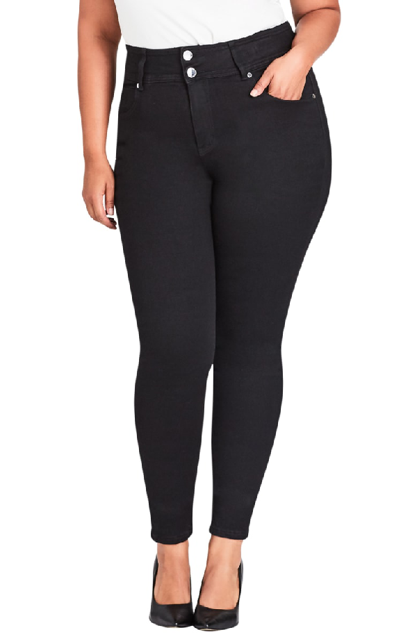 City Chic Harley High Rise Skinny Jeans In Black