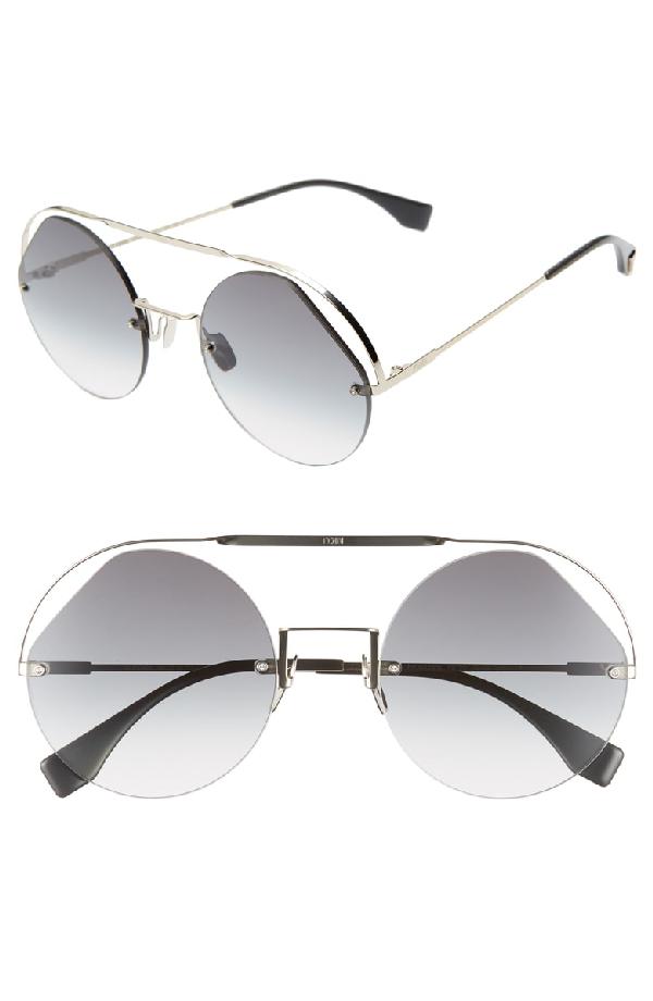 d5b4eec9e3a Fendi 56Mm Semi Rimless Round Aviator Sunglasses - Grey