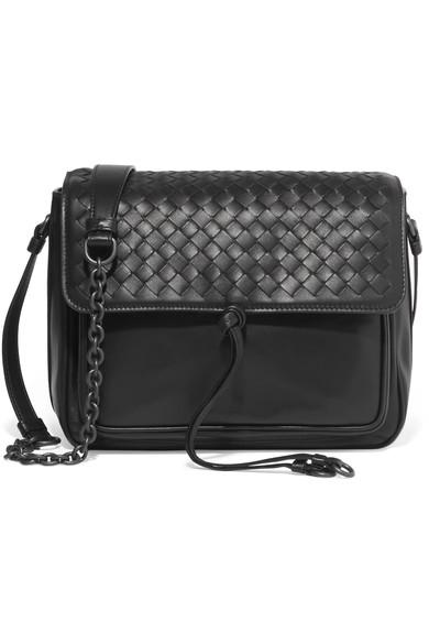 Bottega Veneta Medium Intrecciato Flap Tie-Front Shoulder Bag, Black