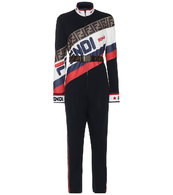 92e1afda130 FENDI. Fendi Mania Printed Jersey Jumpsuit in Multicoloured