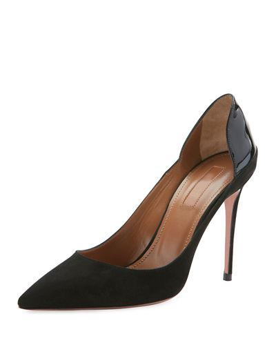 Aquazzura Fellini Suede & Patent Pump In Black