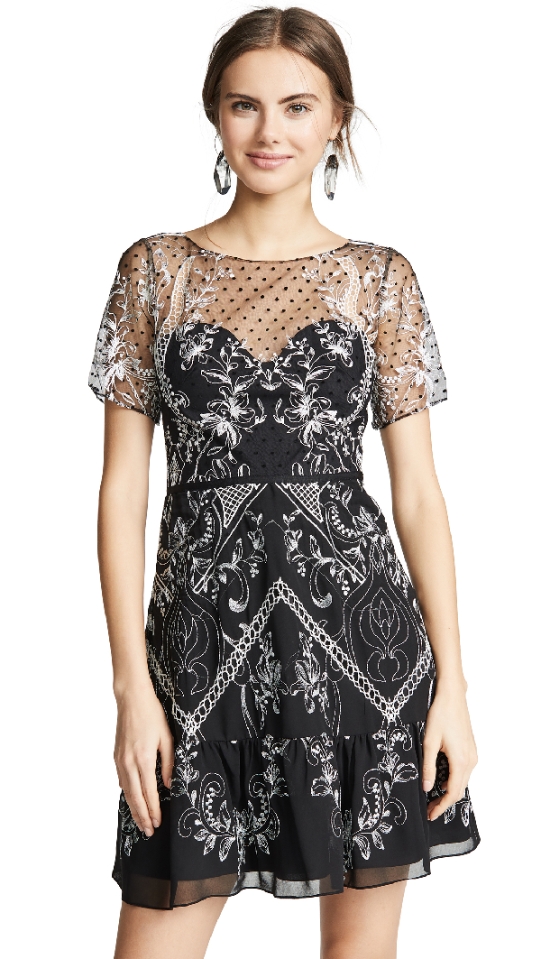 7f43f5f8 Marchesa Notte Short-Sleeve Dotted Chiffon Cocktail Dress In Black ...