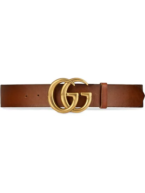 Gucci Men's Leather Belt With Double-G Buckle In Brown
