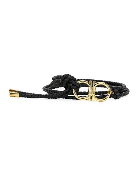 Salvatore Ferragamo Men's Sized Braided Belt In Black