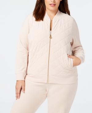 Calvin Klein Plus Size Velour Track Jacket In Blush
