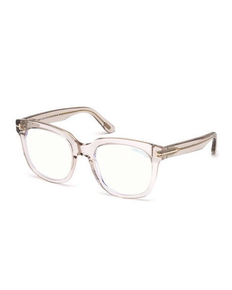4f84bb83eb Tom Ford Blue Light-Blocking Square Transparent Acetate Optical Frames In  Light Pink