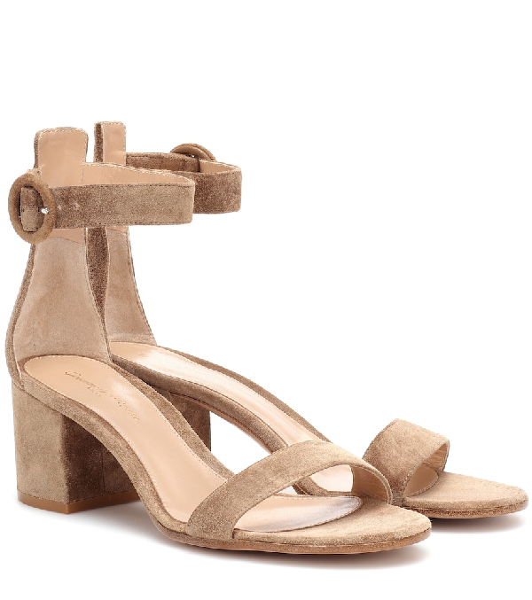 bf3d65f96e1 Gianvito Rossi Suede Ankle-Strap Chunky-Heel Sandals In Beige