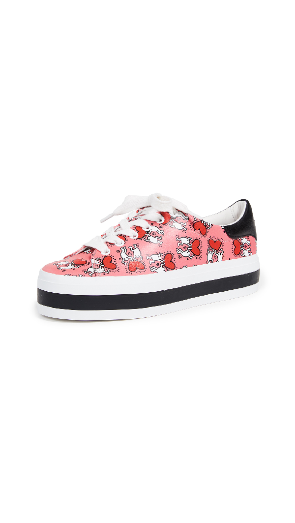 751f80521665 Alice And Olivia Keith Haring X Alice + Olivia Ezra Love Print Leather Platform  Sneakers In
