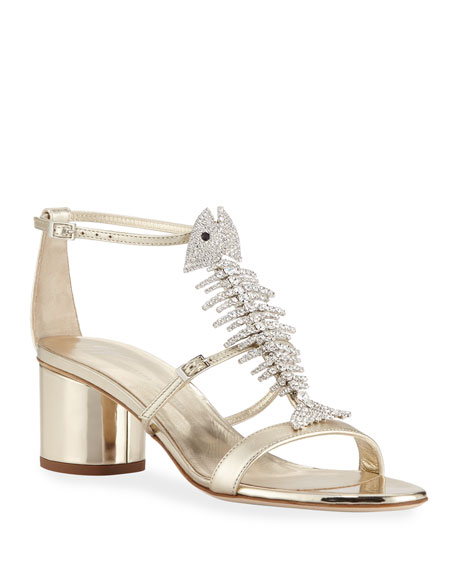 e1ed6c0a5aeff Giuseppe Zanotti Metallic Leather Fishbone Sandals In Sahara | ModeSens