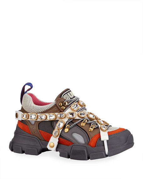 Gucci Men's Leather And Canvas Sneakers With Removable Crystals In Multi