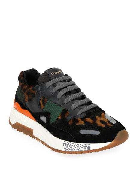 Versace Achilles Panelled Leopard-Print Calf Hair Sneakers In Black