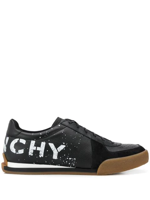 Givenchy Low-Top Sneakers Set3 Tennis  Calfskin Logo Black In 004 Black / White