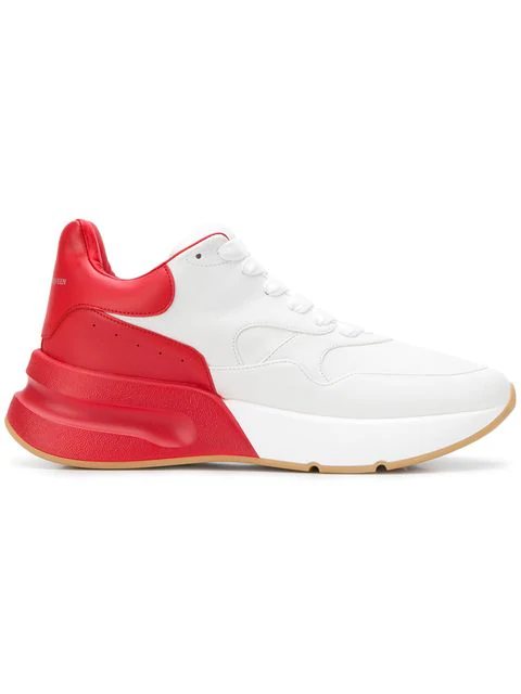 Alexander Mcqueen White And Red Runner Leather Low-Top Sneakers