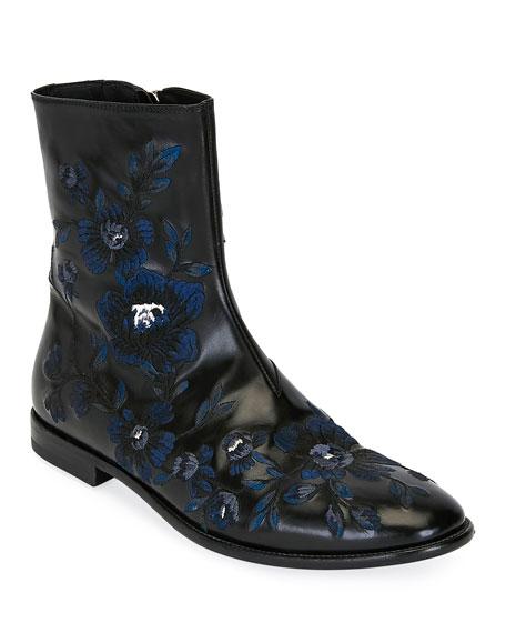 Alexander Mcqueen Men's Embroidered Leather Half-Boot In Black