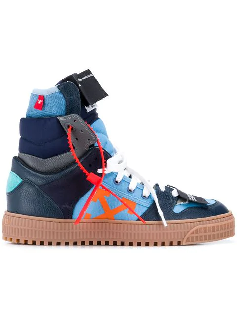 Off-White Men's Off Court Suede/Leather High-Top Sneakers In Blue