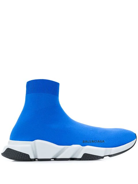 Balenciaga Men's Speed Mid-Top Trainer Sock Sneakers In Blue
