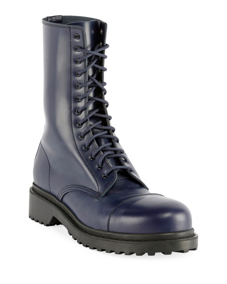 Balenciaga Men's Leather Combat Boots In Navy