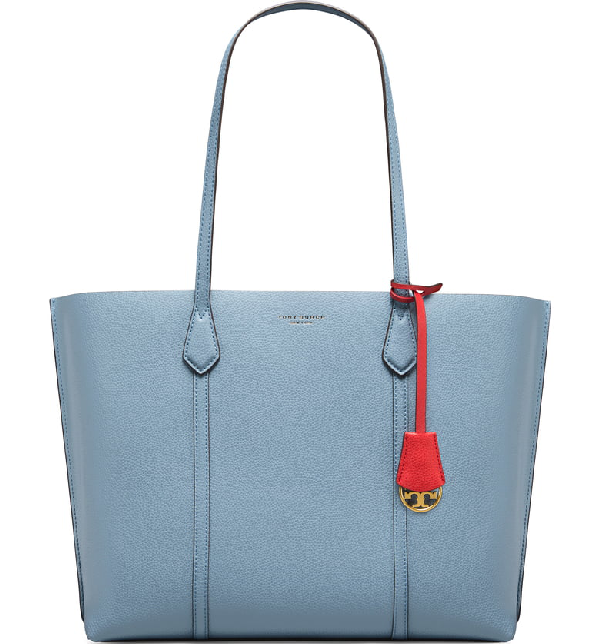 a474165935e Tory Burch Perry Leather 13-Inch Laptop Tote - Blue In Cloud Blue ...
