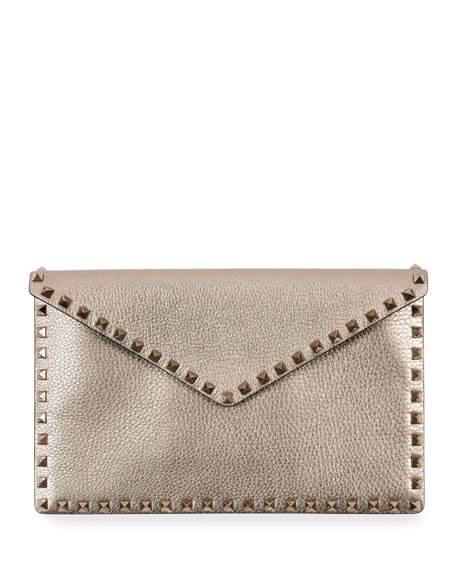 2bfddd096d Valentino Rockstud Metallic Envelope Clutch Bag In Metallic Beige ...