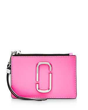 Marc Jacobs Top Zip Leather Multi Card Case In Bright Pink