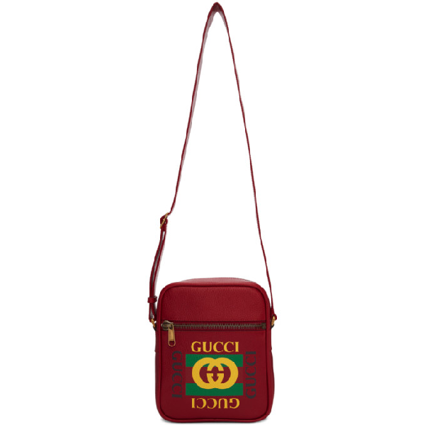 53aaae3c437b Gucci Logo Print Leather Travel Bag - Pink In 6461 Red | ModeSens