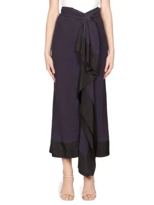 Dries Van Noten Pareo Ruffled Skirt In Navy