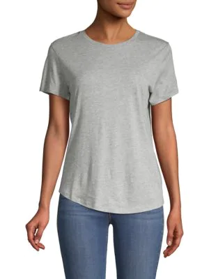 Vince Classic Short-sleeve Top In Grey