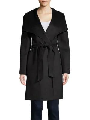 T Tahari Ellie Belted Wrap Coat In Black