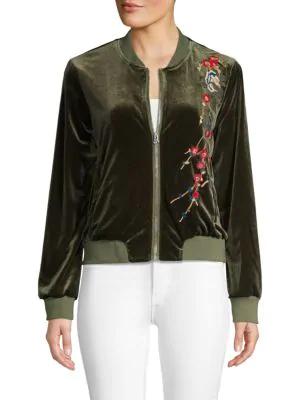 Driftwood Embroidered Velvet Bomber Jacket In Dark Olive