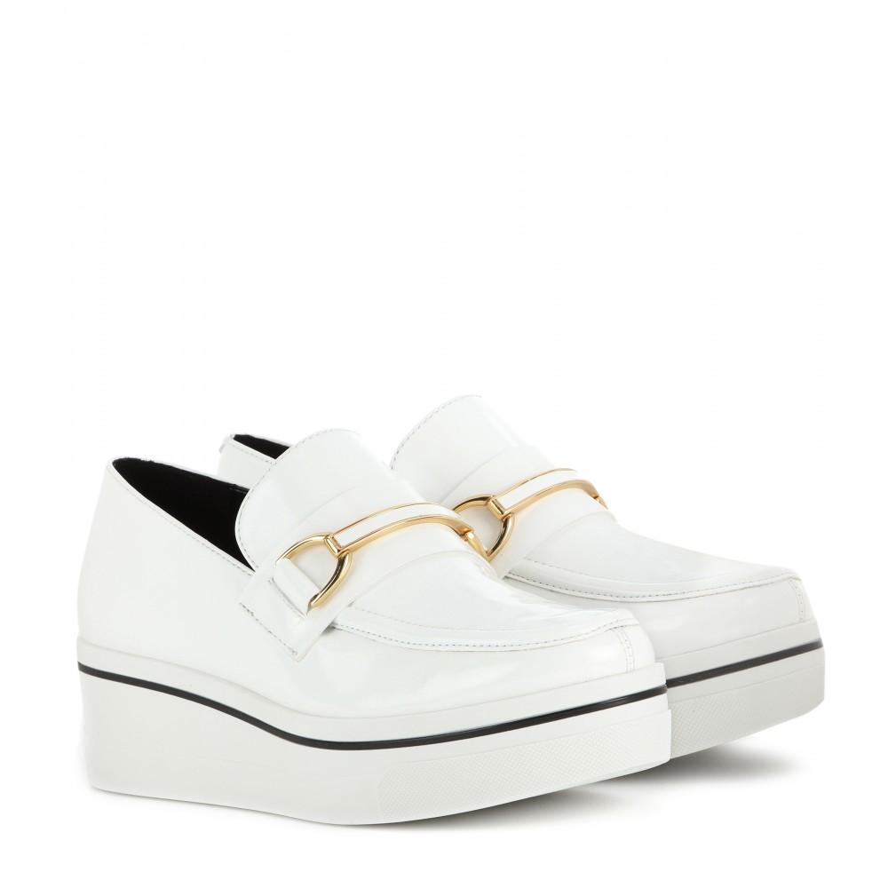 Stella Mccartney Embellished Faux Leather Platform Slip-On Sneakers In White